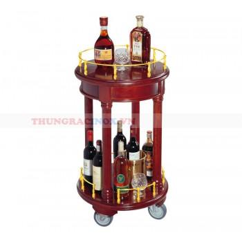 Kệ bầy rượu tròn 2 tầng bằng gỗ