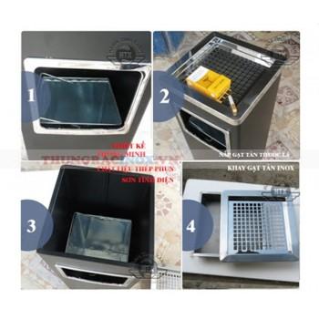 Mua thùng rác inox có gạt tàn tại Quảng Ninh