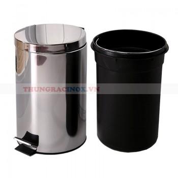 thùng rác inox đạp chân 12 lít