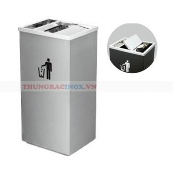 thùng rác inox nắp lật nhập khẩu