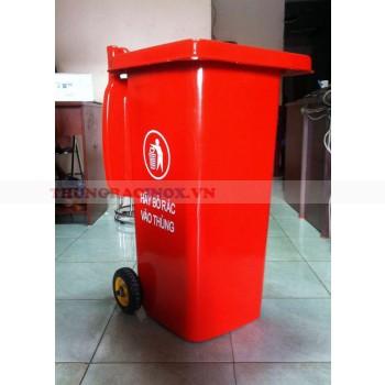 Thùng rác nhựa màu đỏ 120 lít