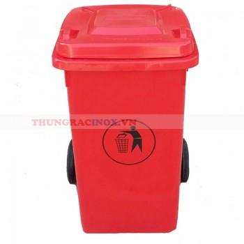 thùng rác nhựa 90 lít màu đỏ