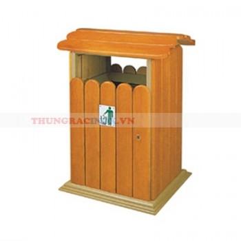 Thùng rác gỗ công cộng đơn hình mái nhà