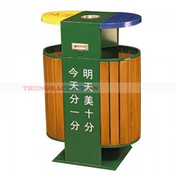 Thùng rác ngoài trời hai ngăn hình bán nguyệt phân loại rác