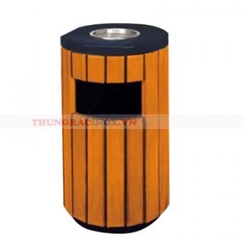 Thùng rác gỗ công nghiệp hình trụ A78C