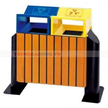Thùng rác gỗ công nghiệp hai ngăn phân loại rác A78L
