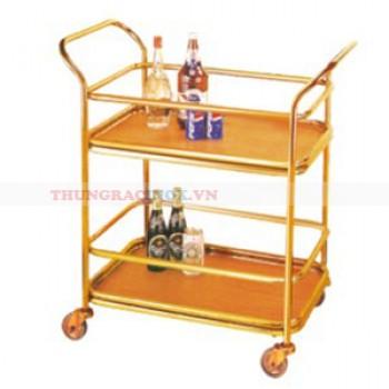 Xe phục vụ bàn 2 tầng bằng inox mạ vàng giá rẻ