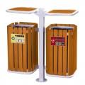 Thùng rác gỗ công cộng treo đôi có mái che