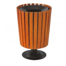 thùng rác gỗ công nghiệp tròn có trụ đẹp A78J