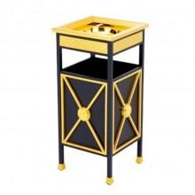 Thùng rác thép phun sơn viền inox mạ vàng