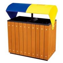 Thùng rác gỗ mái vòm hai màu phân loại rác A78G