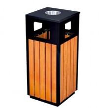 Thùng rác gỗ công nghiệp có khay gạt tàn tròn A78D