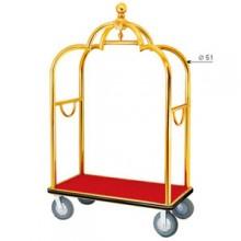 xe đẩy hành lý khách sạn bằng inox mạ vàng