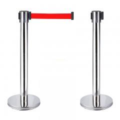 cột chắn inox trắng dây đỏ 2m
