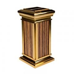 Thùng đựng rác inox mạ vàng có gạt tàn thuốc lá