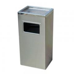 Thùng rác inox hình chữ nhật có gạt tàn màu trắng