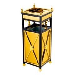 Thùng rác inox mạ vàng có khay gạt tàn thuốc lá