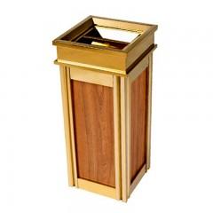 Thùng rác inox mạ vàng dán giấy họa tiết gỗ