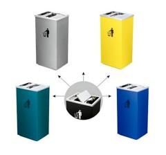Thùng rác inox nắp lật có khay gạt tàn thuốc lá