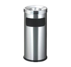 Thùng rác inox tròn có gạt tàn thuốc lá