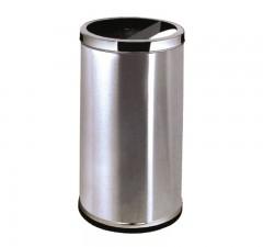 Thùng rác inox tròn công cộng có gạt tàn