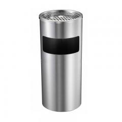Thùng rác inox tròn có gạt tàn màu trắng
