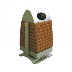 Thùng rác gỗ công nghiệp hình tháp vòm
