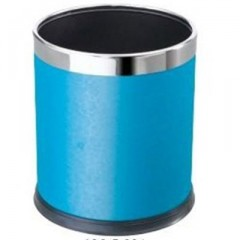 Thùng rác văn phòng thép phun sơn bọc da màu xanh
