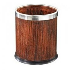 thùng rác văn phòng thép phun sơn giả gỗ sậm