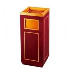 Thùng rác gỗ vuông có gạt tàn