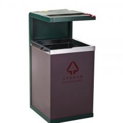 Thùng rác kim loại đơn ngoài trời có gạt tàn thép không gỉ