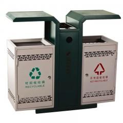 Thùng rác kim loại công cộng có mái che cách điệu