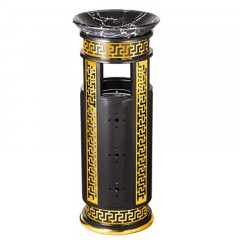 Thùng rác thép phun sơn họa tiết inox mạ vàng
