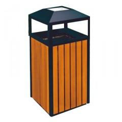 Thùng rác gỗ công nghiệp có gạt tàn hình vuông A78A