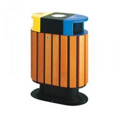 Thùng rác gỗ công nghiệp hai ngăn đôi