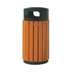 Thùng rác gỗ công nghiệp hình trụ cửa bỏ rác hai bên