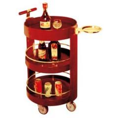 Xe phục vụ rượu hình tròn bằng gỗ 3 tầng