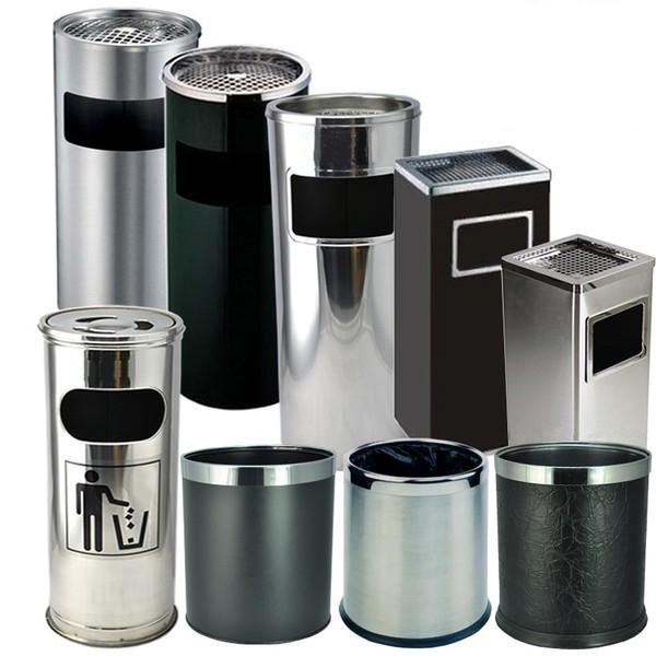 thùng rác inox có gạt tàn thuốc lá