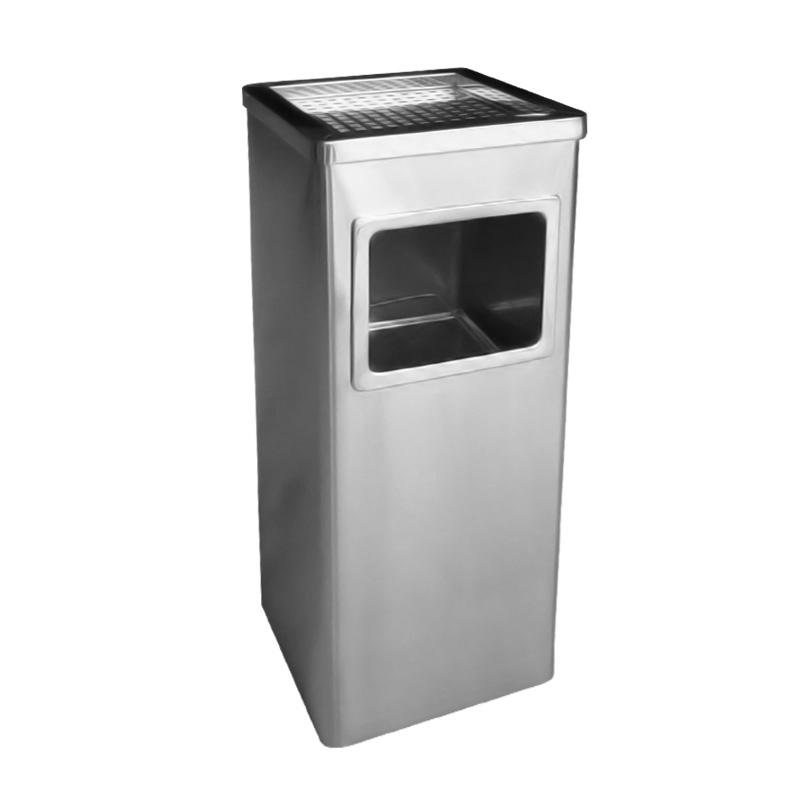 thùng rác inox vuông có gạt tàn