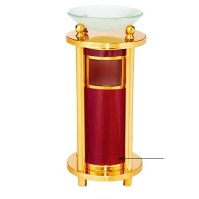 Thùng rác inox mạ vàng có khay thủy tinh tròn