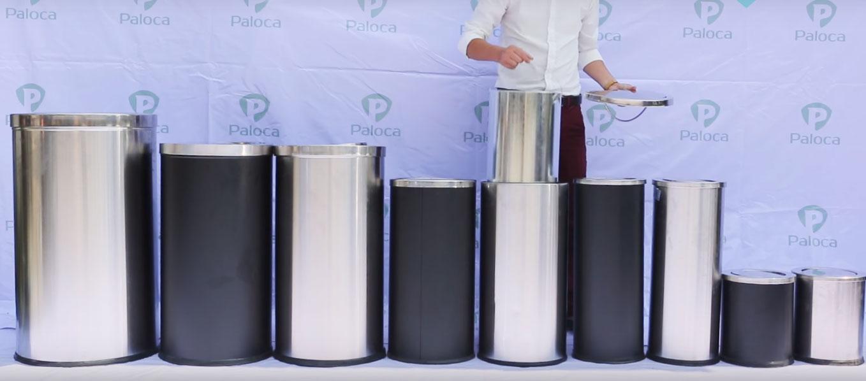 Các kích cỡ thùng rác inox tròn nắp lật