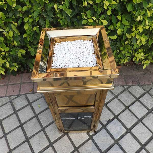 Thùng rác inox đá hoa cương mạ vàng đá đen