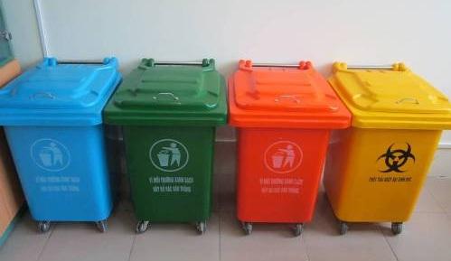 Hình ảnh thực tế thùng rác 50l có bánh xe