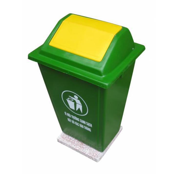 Thùng rác nhựa màu xanh 50 lít chất liệu Composite