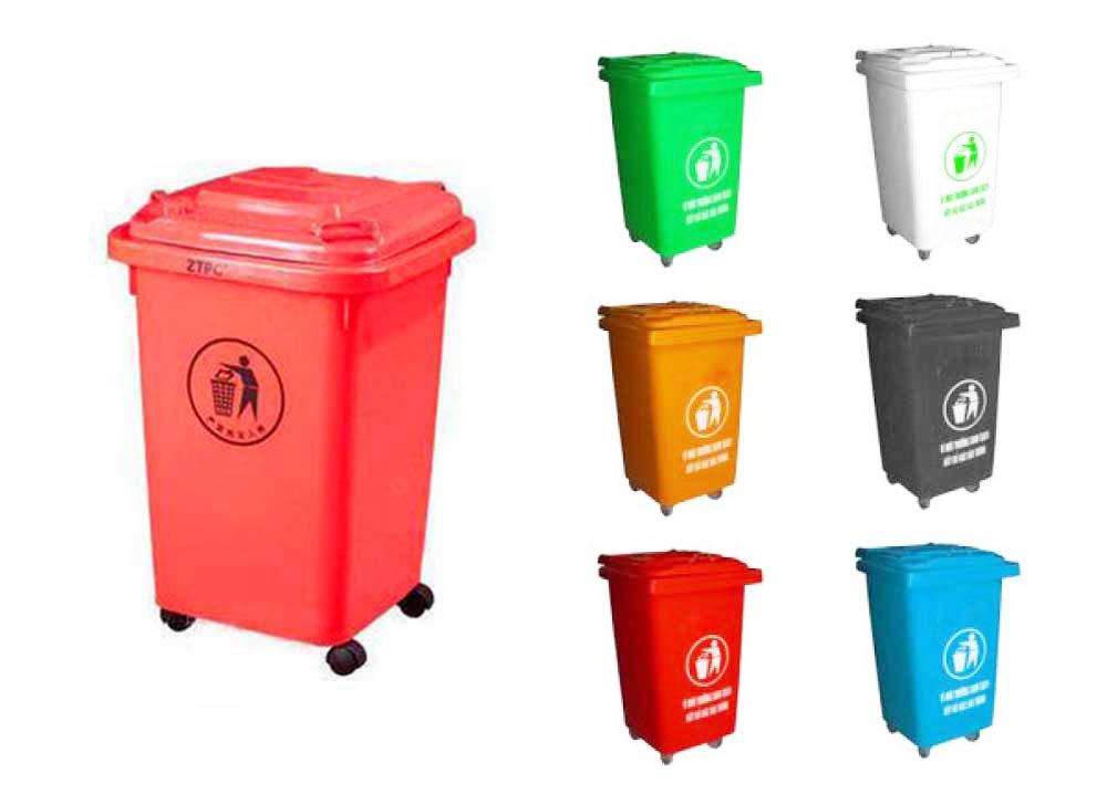 Thùng rác nhựa 60 lít màu đỏ và các màu sắc khác