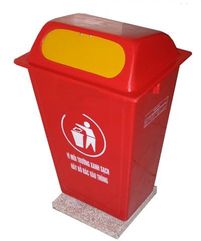 thùng rác 50 lít màu đỏ