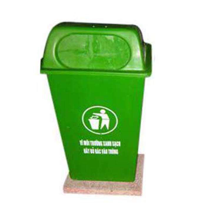 Thùng rác 50 lít bằng nhựa composite đế đá