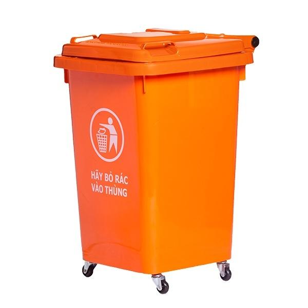 Thùng rác nhựa 90 lít nắp kín có bánh xe